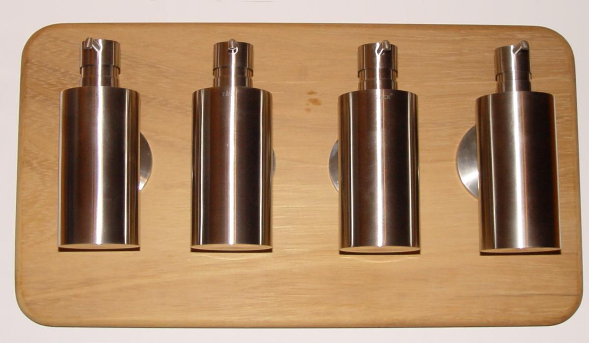 Seifenspender holz eiche  Brett für vier Seifenspender